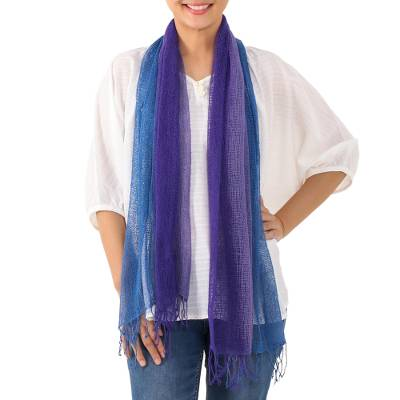 Cotton scarf, 'Iris Mood' - Handwoven Purple and Blue Cotton Scarf from Thailand