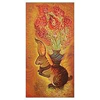 'The Rabbit' (2009) - Signed Surrealist Painting of a Floral Rabbit from Thailand