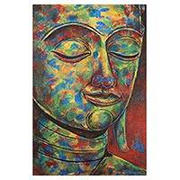 'Peaceful Mind' - Colorful Thai Expressionist Painting of Buddha