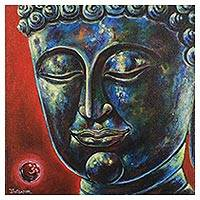 'Calmness Mind' - Original Signed Painting of Buddha from Thailand