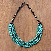 Wood beaded torsade necklace, 'Teal Squared' - Black and Teal Cube Boxwood Beaded Torsade Necklace