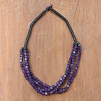Wood beaded torsade necklace, 'Purple Squared' - Black and Purple Cube Boxwood Beaded Torsade Necklace