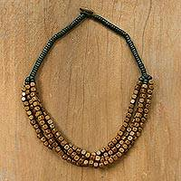 Wood beaded torsade necklace, 'Brown Squared' - Black and Brown Cube Boxwood Beaded Torsade Necklace