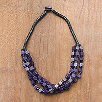 Wood beaded torsade necklace, 'Purple Elegance Squared' - Purple and Black Boxwood Cube Beaded Torsade Necklace