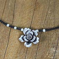 Silver pendant necklace, 'Chiang Mai Petals' - Karen Silver Floral Beaded Pendant Necklace from Thailand