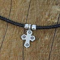 Silver pendant necklace, 'Christian Karen' - Karen Silver Cross Pendant Necklace from Thailand
