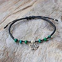 Silver beaded bracelet, 'Ancient Flower' - Karen Silver and Reconstituted Turquoise Floral Bracelet