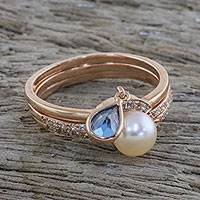 Rose gold plated cultured pearl and topaz stacking rings, 'Transcendent Triad' - Rose Gold Stacking Rings with Cultured Pearl (Set of 3)