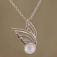 Gold plated rose quartz pendant necklace, 'Kinnaree Wing' - Gold Plated Rose Quartz Wing Pendant Necklace from Thailand