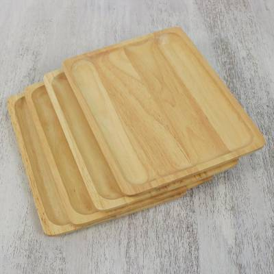 Wood plates, 'Family Party' (set of 4) - Four Handmade Rubberwood Plates from Thailand