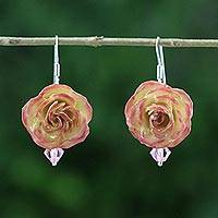Natural rose dangle earrings, 'Floral Temptation' - Beaded Natural Rose Dangle Earrings from Thailand