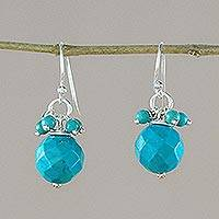 Beaded dangle earrings, 'Blue Breeze' - Blue Calcite and Silver Dangle Earrings from Thailand