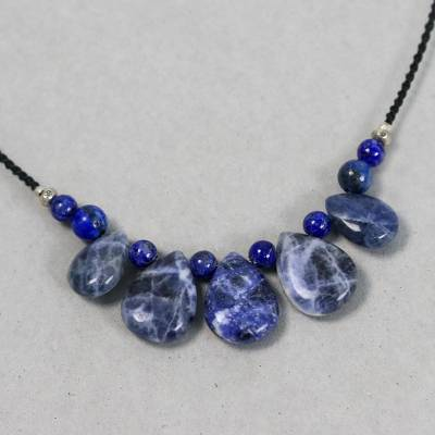 Sodalite and lapis lazuli beaded pendant necklace, 'Blue Veins' - Lapis Lazuli and Sodalite Pendant Necklace from Thailand