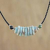 Jasper beaded pendant necklace, 'Historic Charm' - Jasper and 950 Silver Beaded Pendant Necklace from Thailand