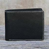 Men's leather wallet, 'Genuine in Jet Black' - Men's Genuine Leather Wallet in Black from Thailand