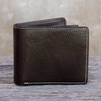 Men's leather wallet, 'Forever in Dark Brown' - Fair Trade Genuine Leather Wallet for Men from Thailand