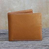 Men's leather wallet, 'Classic in Saddle Brown' - Fair Trade Genuine Leather Wallet for Men in Medium Brown