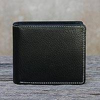 Men's leather wallet, 'Classic in Jet Black' - Fair Trade Men's Classic Bifold Leather Wallet in Black