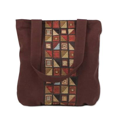 Geometric Motif Brown Cotton Tote Handbag from Thailand
