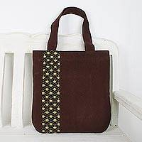 Cotton tote bag, 'River Paradise' - Deep Brown Cotton Tote Bag with Scalloped Detail