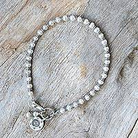 Cultured pearl beaded bracelet, 'Karen Eye' - Karen Silver and Cultured Pearl Bracelet from Thailand
