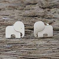 Sterling silver stud earrings, 'Adorable Elephants' - Sterling Silver Elephant Stud Earrings from Thailand
