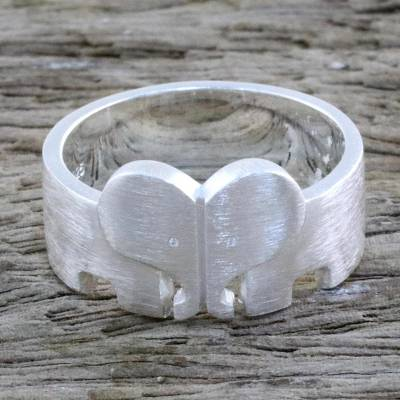 Sterling Silver Elephant Heart Band Ring from Thailand