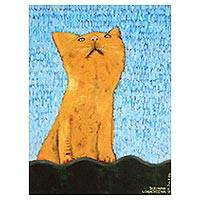 'Orange Cat on the Roof' - Signed Expressionist Painting of a Ginger Tabby Cat