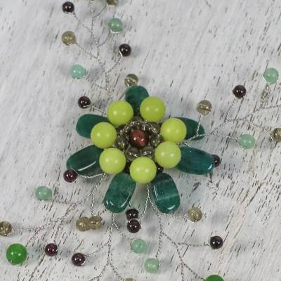 Multi-gemstone beaded statement necklace, Morning Flower