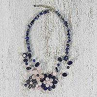 Multi-gemstone beaded statement necklace, 'Lapis Blossom' - Handcrafted Multi Gemstone Beaded Statement Necklace