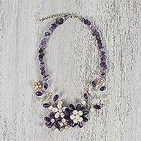 Amethyst and cultured pearl beaded statement necklace, 'Amethyst Blossom' - Amethyst and Cultured Pearl Beaded Statement Necklace