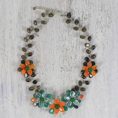 Multi-gemstone beaded necklace, 'Dreamy Radiance' - Handcrafted Multi Gemstone Floral Beaded Necklace