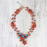 Carnelian and calcite beaded necklace,