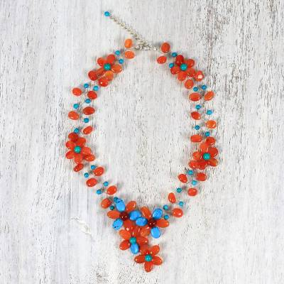 Carnelian and calcite beaded necklace, 'Sweet Garden' - Carnelian and Calcite Beaded Floral Necklace from Thailand