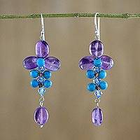 Amethyst and calcite dangle earrings, 'Succulent Vines' - Amethyst and Calcite Dangle Earrings from Thailand