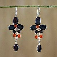 Garnet and carnelian dangle earrings, 'Succulent Vines' - Garnet and Carnelian Dangle Earrings from Thailand