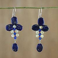 Lapis lazuli and citrine dangle earrings, 'Succulent Vines' - Lapis Lazuli and Citrine Dangle Earrings from Thailand