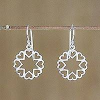 Sterling silver dangle earrings, 'Stars in Love' - Sterling Silver Star Heart Dangle Earrings from Thailand