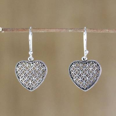 Sterling silver dangle earrings, 'Textured Hearts' - Sterling Silver Heart-Shaped Dangle Earrings from Thailand