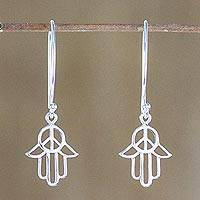 Sterling silver dangle earrings, 'Peaceful Hamsa' - Sterling Silver Hamsa Peace Sign Earrings from Thailand