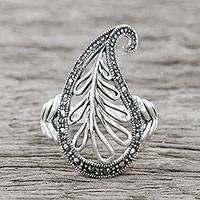 Marcasite cocktail ring, 'Natural Shape' - Sterling Silver Paisley Cocktail Ring from Thailand