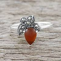 Carnelian cocktail ring, 'Bright Palm' - Drop-Shaped Carnelian Cocktail Ring from Thailand