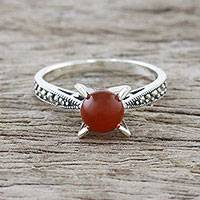 Carnelian cocktail ring, 'Magical Cradle' - Marcasite-Paved Carnelian Cocktail Ring from Thailand