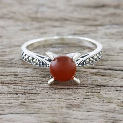 Carnelian and marcasite cocktail ring, 'Magical Cradle' - Marcasite-Paved Carnelian Cocktail Ring from Thailand