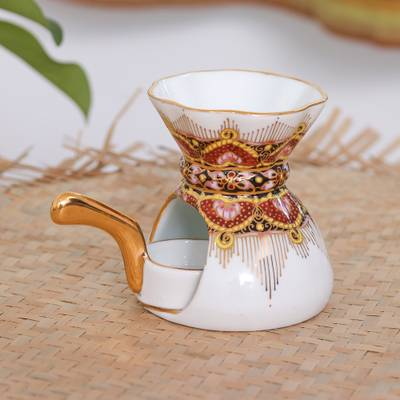 Benjarong oil warmer, 'Thai Luxury' - Benjarong Porcelain Oil Warmer Handmade in Thailand
