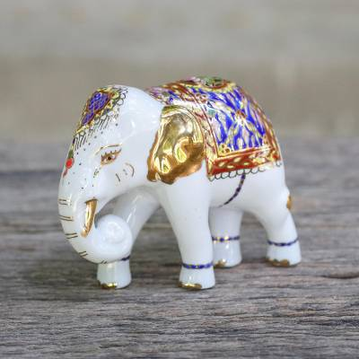 Benjarong porcelain figurine, 'Brilliant Elephant' - Benjarong Porcelain Elephant Figurine with Real Gold