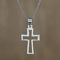 Sterling silver pendant necklace, 'Simply Faithful' - Sterling Silver Shining Cross Pendant Necklace from Thailand