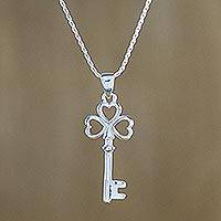 Sterling silver pendant necklace, 'Heart Key' (Thailand)