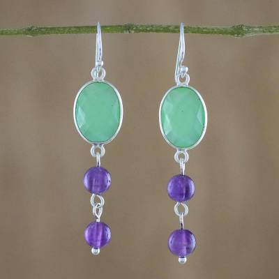 Chalcedony and amethyst dangle earrings, 'Pastel Holiday' - Chalcedony and Amethyst Dangle Earrings from Thailand