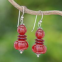 Carnelian dangle earrings, 'Fiery Memory' - Carnelian Beaded Dangle Earrings from Thailand